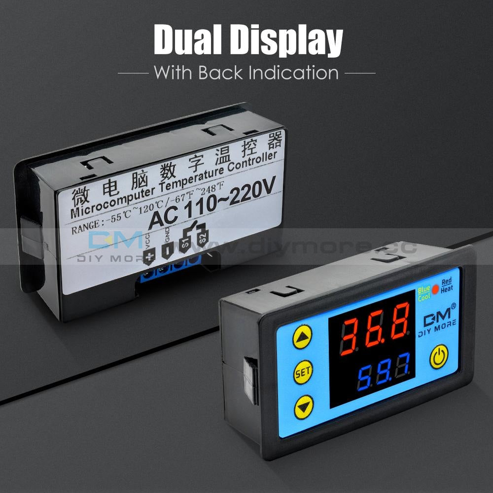 Dual Display W3231 Red&blue Ac 110-220V Digital Thermostat Relay Mos Sensor
