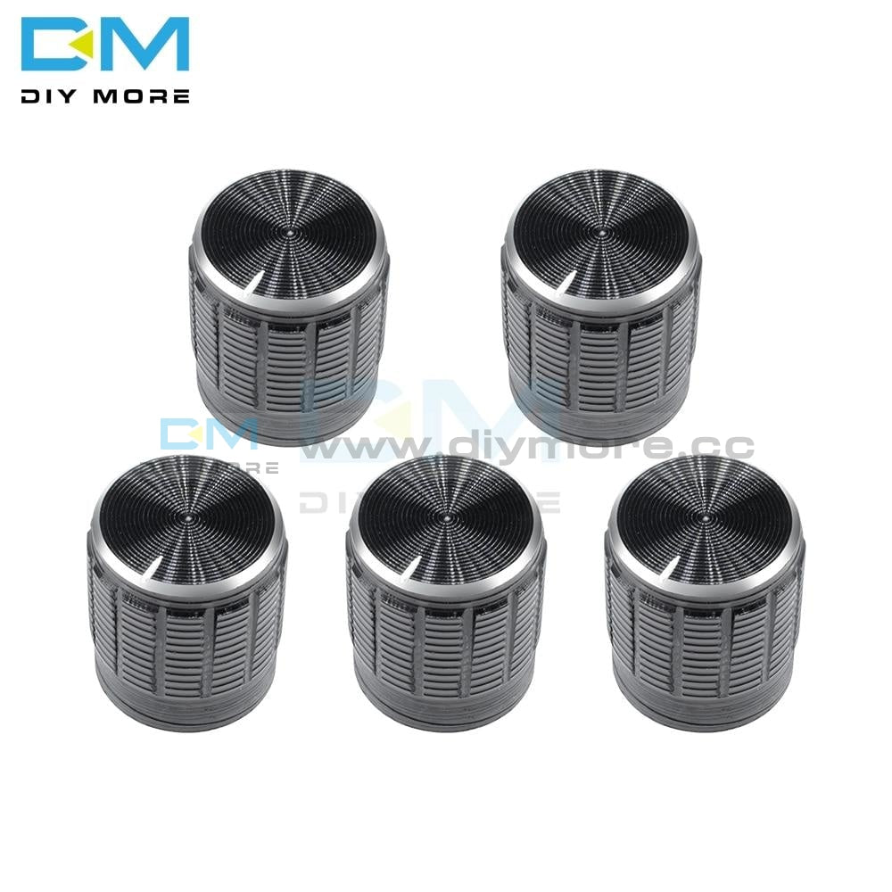 10Pcs 6Mm Black Metal Volume Control Rotary Knobs For Knurled Shaft Potentiometer 15 X 16.5Mm Silver