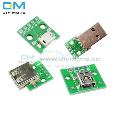 10Pcs Mini/micro Usb To Dip Type A Female/ Male Adapter Converter For 2.54Mm Pcb Board Diy Power