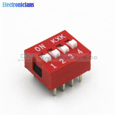 10Pcs Slide Type Switch Module 2.54Mm 4 Bit Position Way Dip Red Pitch Gps/gprs