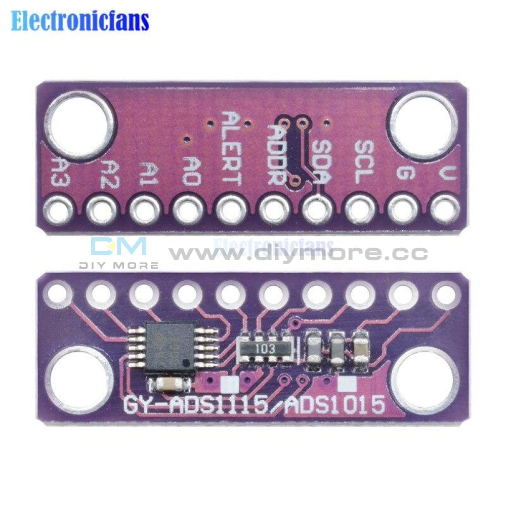 16 Bit Iic I2C 4 Channel Ads1115 Module Adc With Pro Gain Amplifier For Arduino 2V To 5V Auto Shut