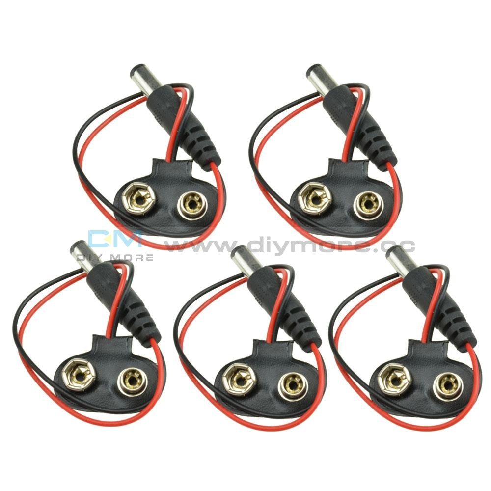 5Pcs 9V Dc T Type Battery Power Cable Barrel Jack Connector For Arduino Diy Function
