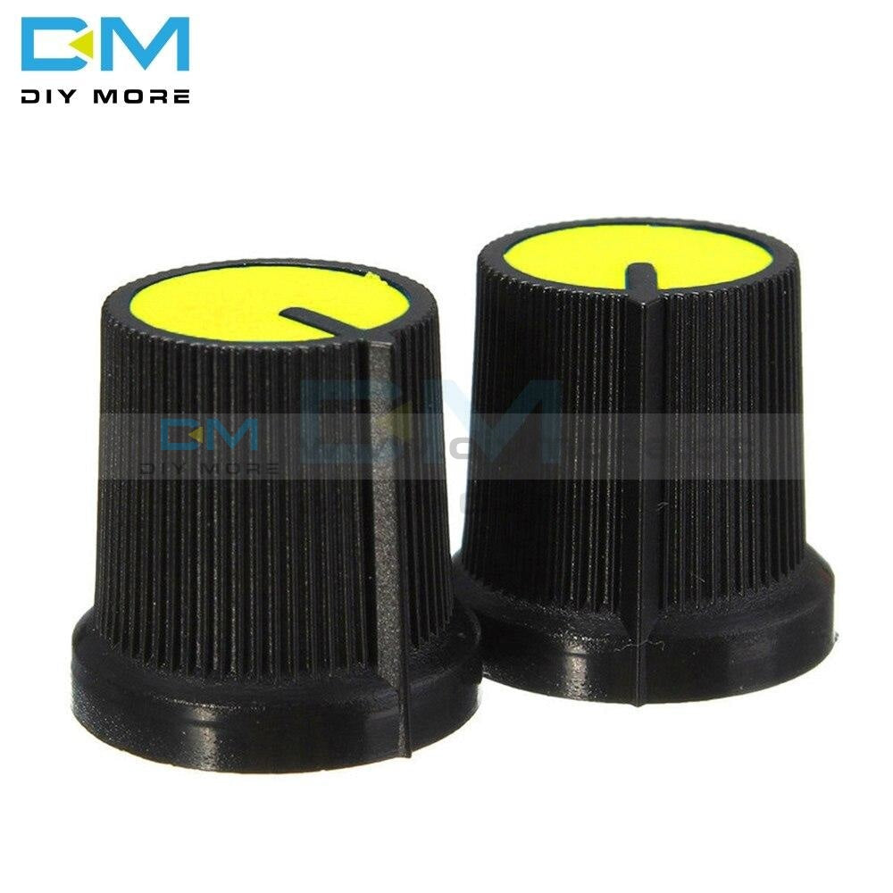 20Pcs Lot 6Mm 0.6Cm Knob Yellow Face Plastic For Rotary Taper Potentiometer Hole Volume Control