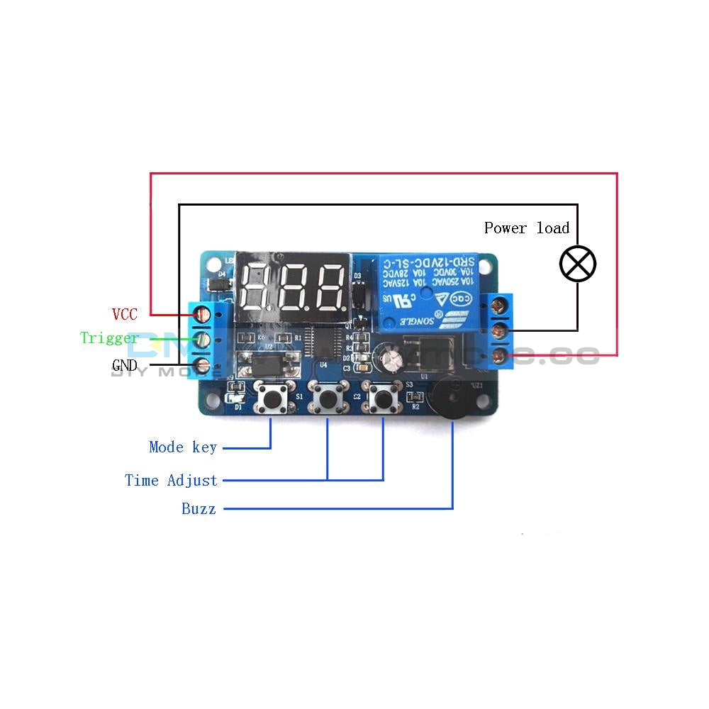 12V Led Display Timer Relay Module Delay Programmable Switch Board Car Buzzer Cz