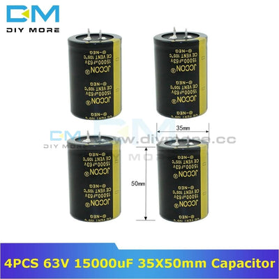 4Pcs 63V 15000Uf 35X50Mm Aluminum Electrolytic Capacitor High Frequency Low Impedance Through Hole