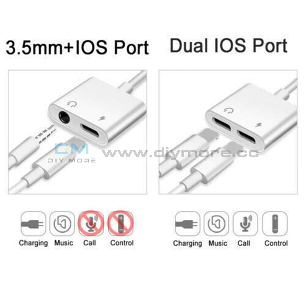 Adapter For Iphone X 6S 7 8 Plus Xs Max Splitter Audio Earphone Aux Charger Dual Module