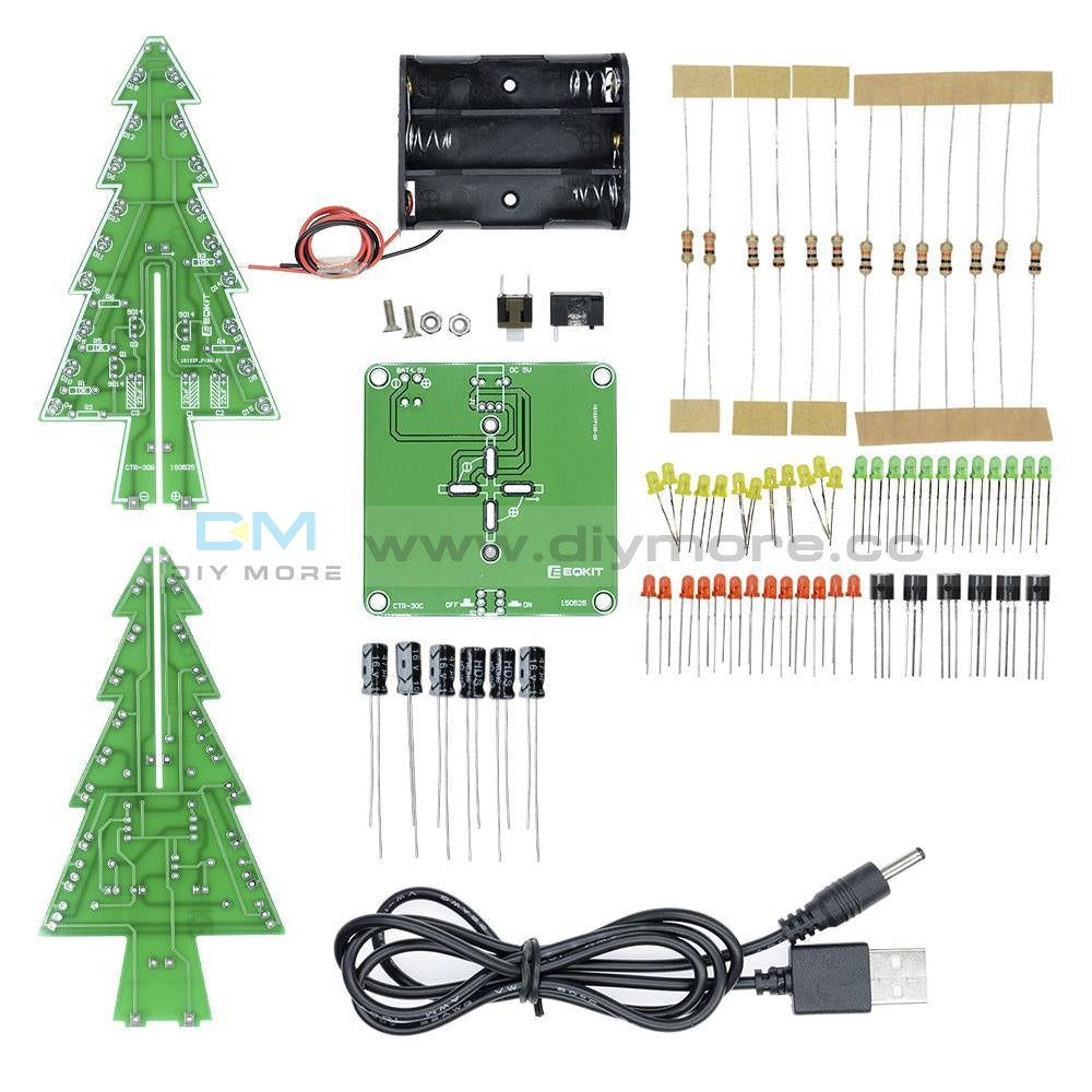 3D Christmas Tree Led Flashing Light Diy Kit 3 Colors Red Green Yellow Flash Circuit Without