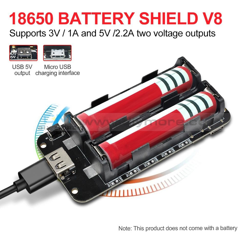 18650 Battery Shield V8 Mobile Power Bank 3V/5V For Arduino Esp32 Esp8266 Wifi Expansion Module