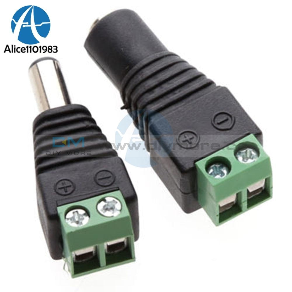 5 X Male + Female 2.1X5.5Mm Dc Power Cable Jack Adapter Connector Plug Led Strip Cctv Camera Use 12V
