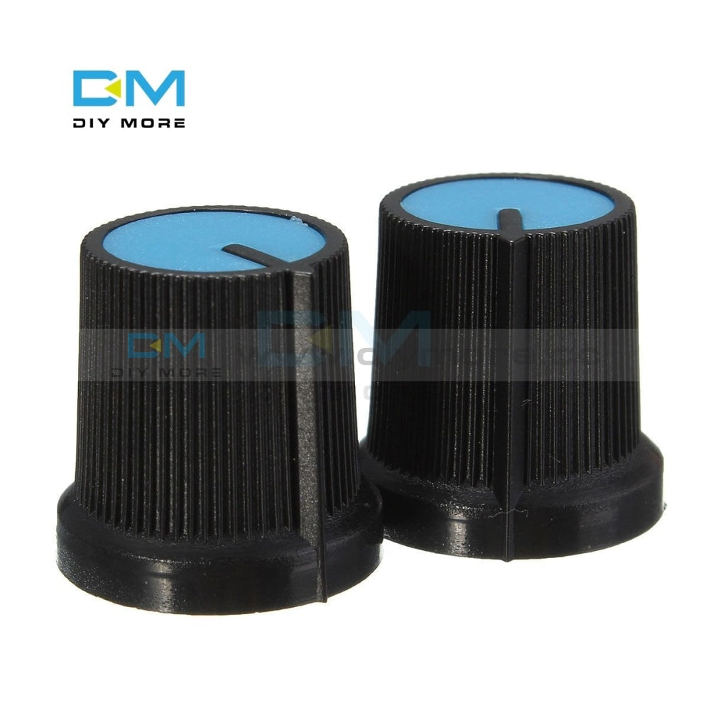 50Pcs Lot Black Knob Blue Face Plastic For Rotary Taper Potentiometer Hole 6Mm New Potentiometers
