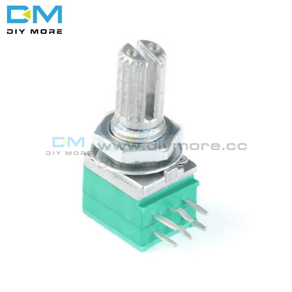 5Pcs Rotary Potentiometer 6 Pin 6P 6Mm Knurled Shaft Single Linear B Type B10K Ohm 10K With Cap Blue
