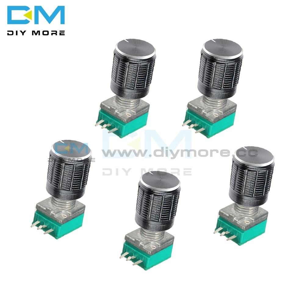 5Pcs Rotary Potentiometer B5K 10K 20K 50K 100K 500K Ohm 3 Pin 3P 6Mm Knurled Shaft Single Linear B