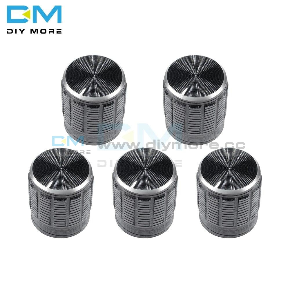 5Pcs Wh148 Aluminum Alloy Potentiometer For Dia 6Mm Knurled Shaft Control Rotary Knobs 14X16Mm Black