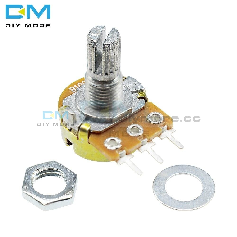 5Pcs Wh148 Rotary Potentiometer B1K 5K 10K 20K 50K 100K B500K Ohm Linear Taper 3 Pin With Blue Caps