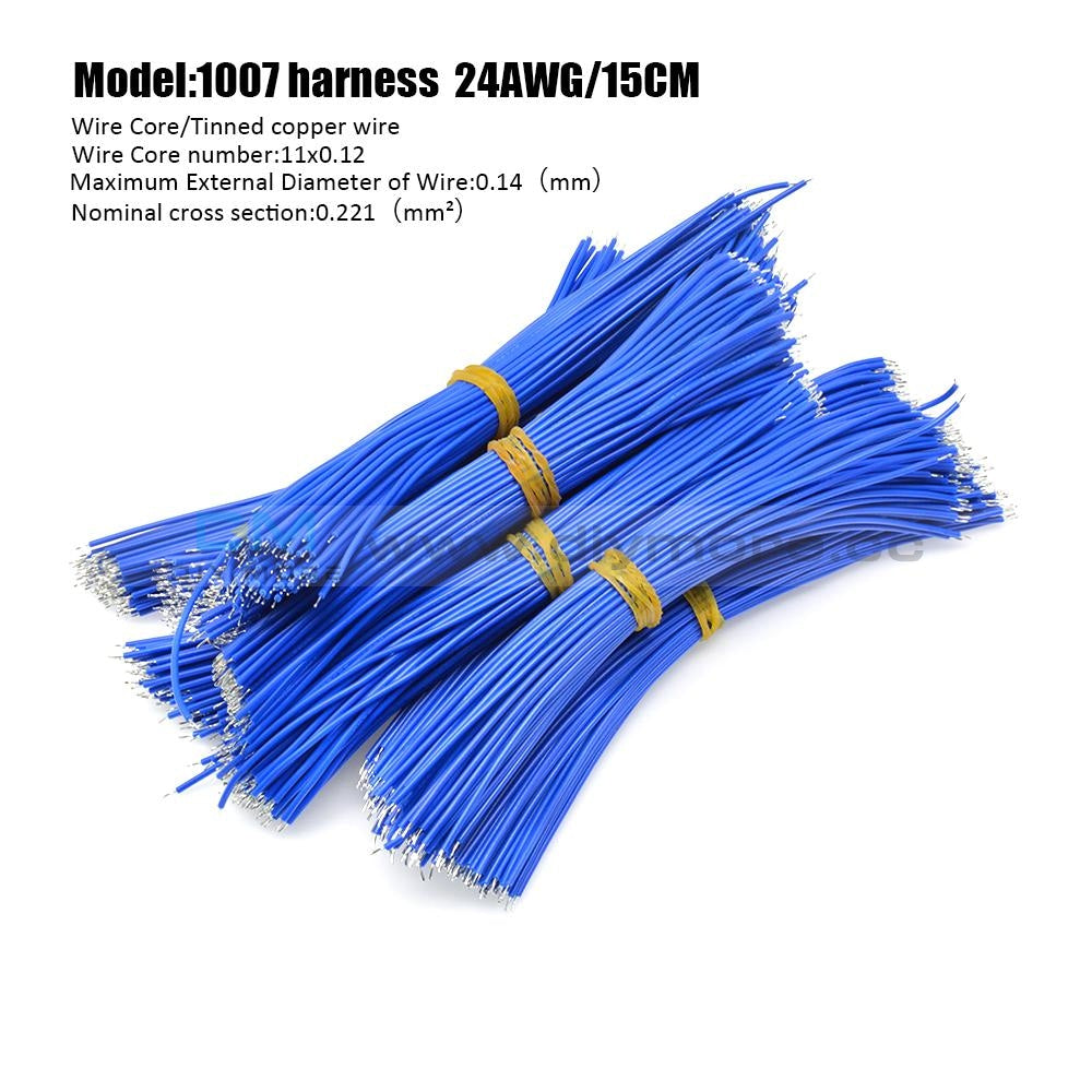 100Pcs 24Awg Tin-Plated Breadboard Pcb Fly Jumper Conductor Wires 1007-24Awg Electrical Cable Blue