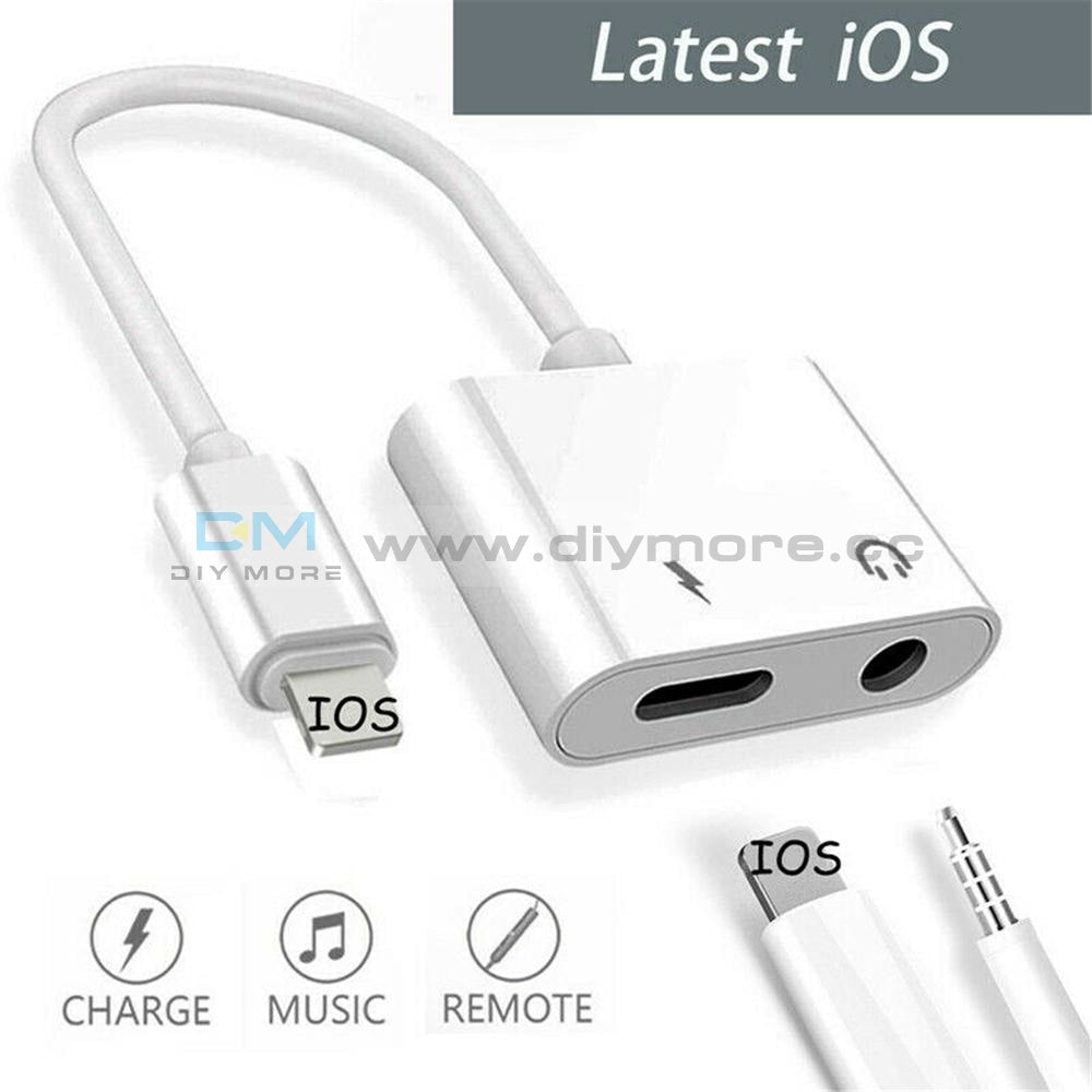 Adapter For Iphone X 6S 7 8 Plus Xs Max Splitter Audio Earphone Aux Charger Dual 3.5Mm Port+ Ios