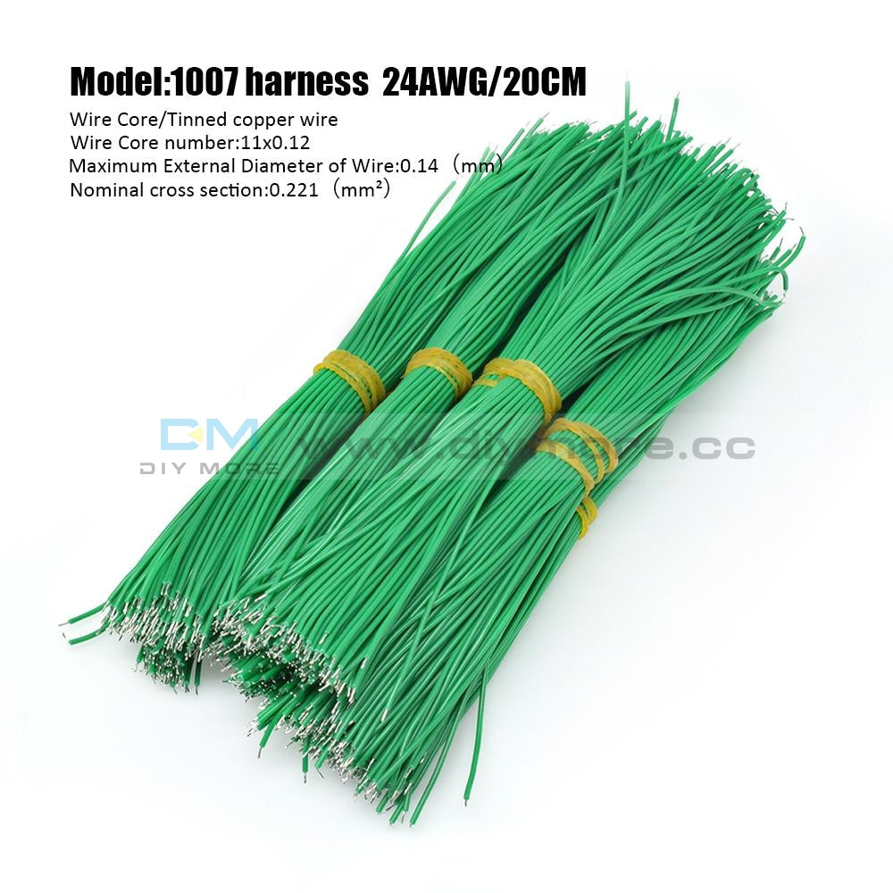 100Pcs 24Awg Tin-Plated Breadboard Pcb Fly Jumper Conductor Wires 1007-24Awg Electrical Cable Green