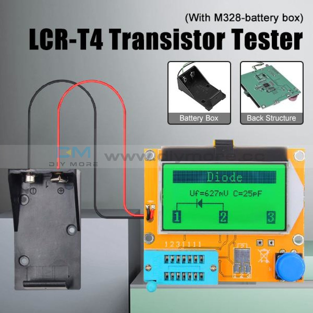 Lcr-T4 Esr Meter Transistor Tester Diode Triode Capacitance Scr Inductance 328 Lcd Display Mos Pnp