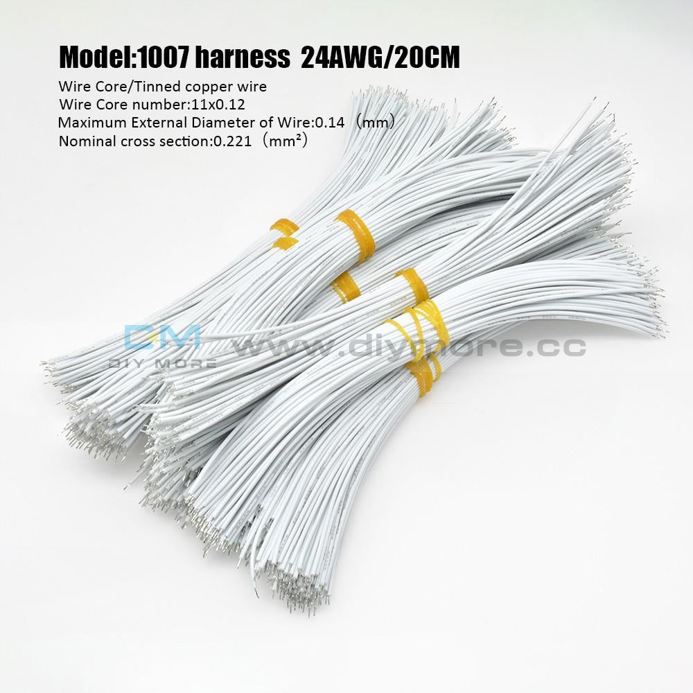 100Pcs 24Awg Tin-Plated Breadboard Pcb Fly Jumper Conductor Wires 1007-24Awg Electrical Cable White