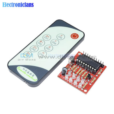8 Channel Ir Infrared Receiver Board 3 5V Delay Relay Driving Module + 9 Keys Remote Control