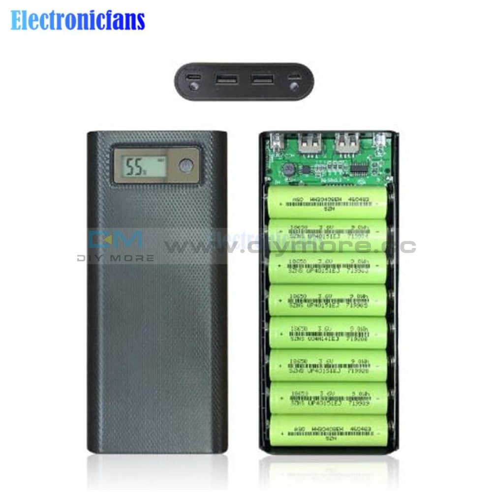 8X18650 Battery Charger Box Power Bank Holder Case Dual Usb Lcd Digital Display 8*18650 Shell