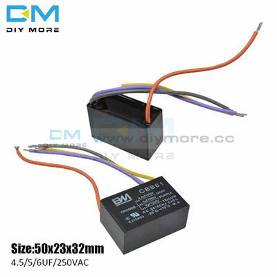 Cbb61 4 Wires 4.5/5/6Uf Start Capacitance Ac Fan Capacitor Terminal Ceiling Motor Running Rectangle