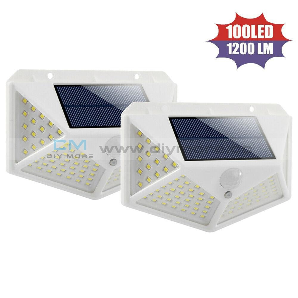100 Led Solar Light Outdoor 4-Side Waterproof Lamp Pir Motion Sensor Wall For Garden Yard White