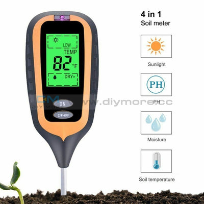 4 In 1 Digital Ph Meter Soil Moisture Monitor Temperature Sunlight Tester With Blacklight For Garden
