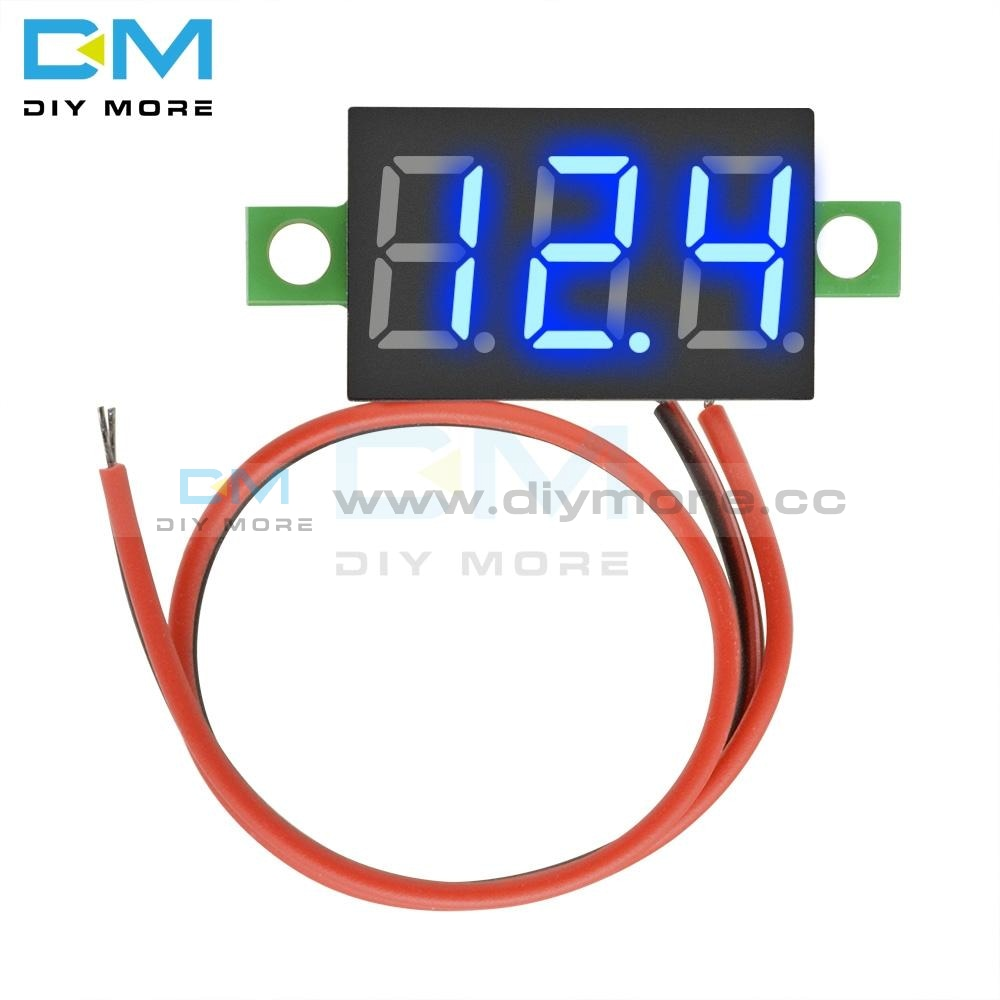 Dc 4.7~32V 0.36 Inch Mini 3 Digit Led Display Voltmeter Module Self Powered Voltage Meter Board Blue