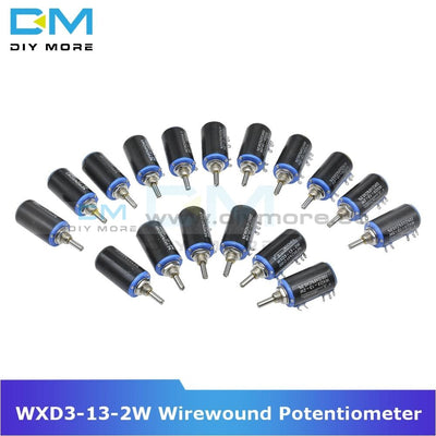 Diymore Wxd3 13 2W Wirewound Potentiometer Resistance Ohm 10 Turns Linear Rotary 5% +5% Electronic