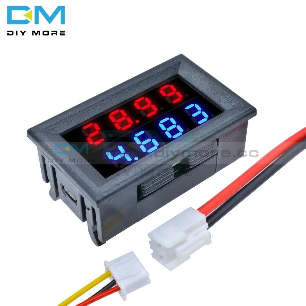 0-100V 10A Voltmeter Ammeter Amp Dual Digital Meter Gauge 0.28 Inch Connectors Led Display Module