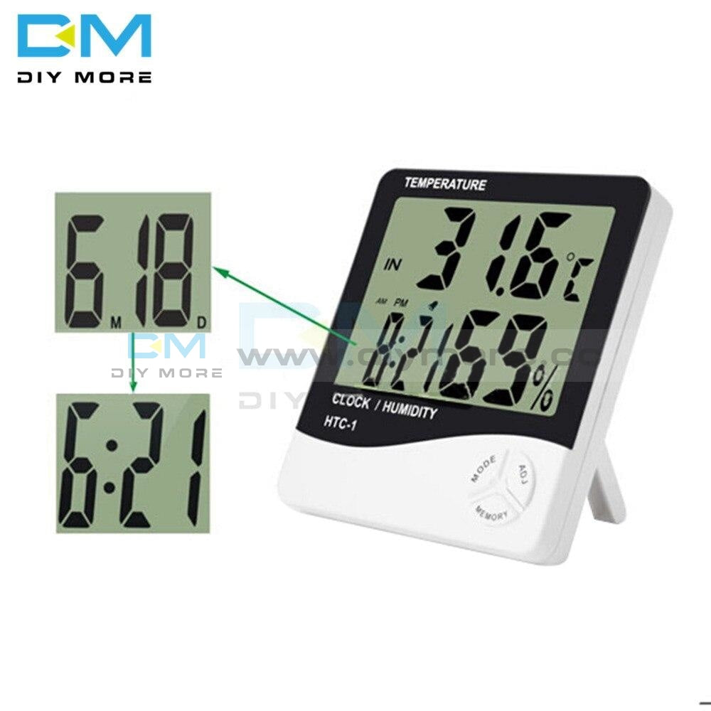 Htc-1 Lcd Digital Thermometer Hygrometer Weather Station Temperature Humidity Desk Alarm Clock