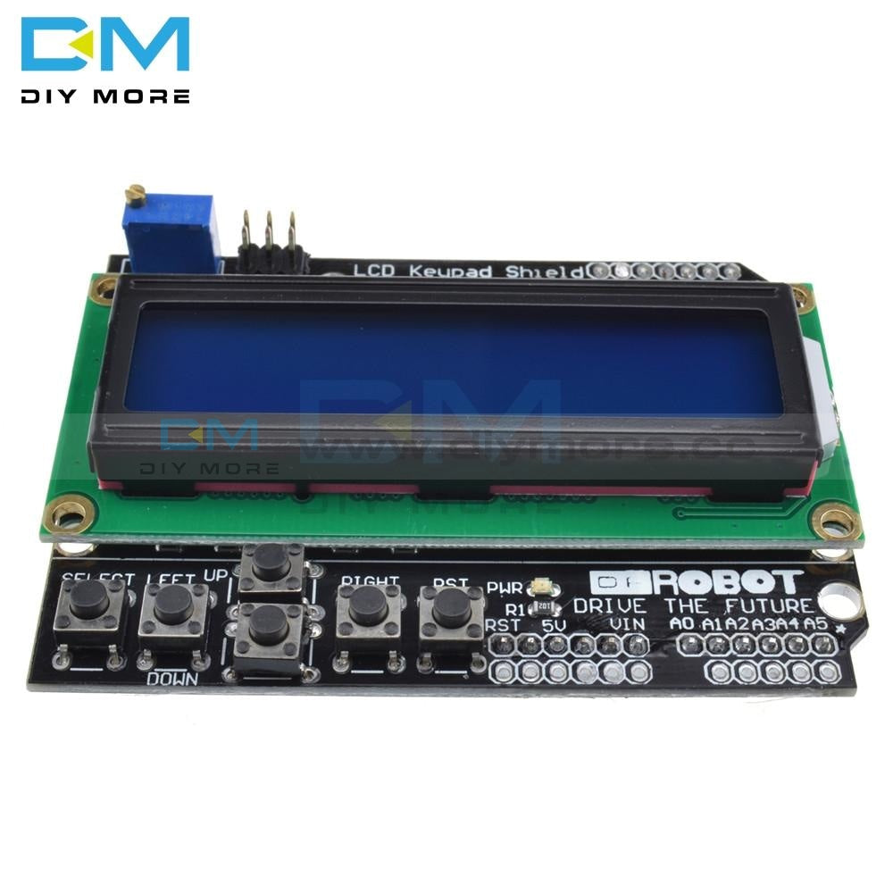 1602 Lcd Board Keypad Shield Blue Backlight Module For Arduino Duemilanove Robot 16 Character By 2