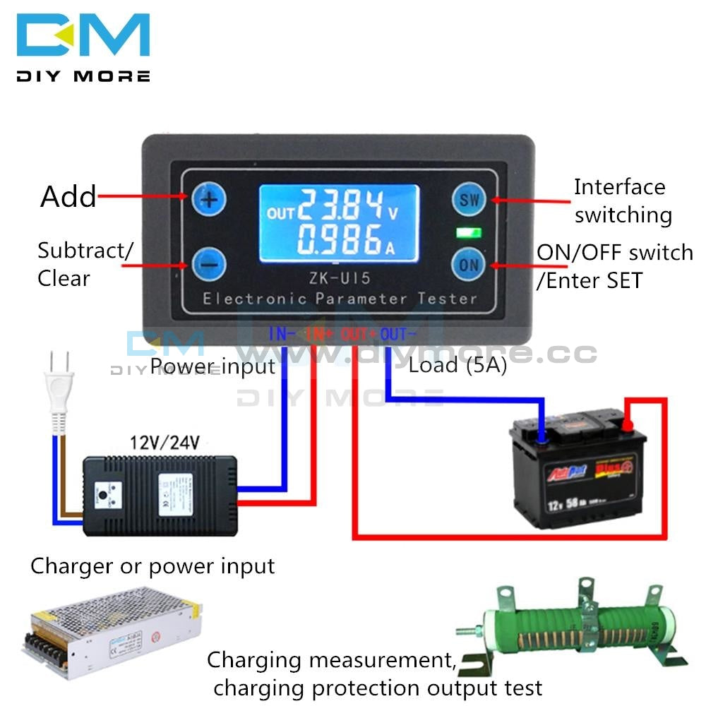 Dc 5V-38V Digital Lcd Display Voltmeter Ammeter Multi-Function Volt Current Voltage Meter Tester