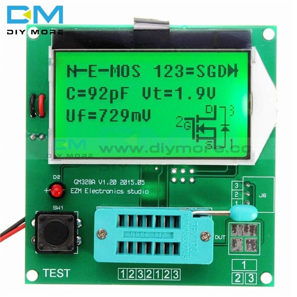 Component Gm328A Transistor Tester Graphic Wave Signal 9V 20Ma Lcr Rlc Pwm Esr Digital Lcd Display