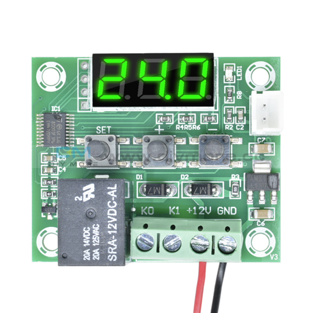 W1209 Ac 110-220V Digital Led Thermostat Temprature Controller With Probe Sensor Green