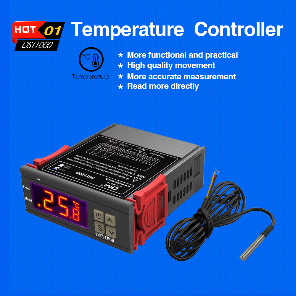 DST1000 DC 12-72V Temperature Controller Thermostat DS18B20 Cable Sensor