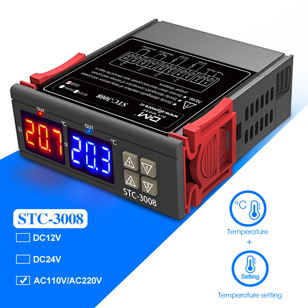 STC-3008 110-220V Digital Temperature Thermostat Controller Dual LED NTC Probe