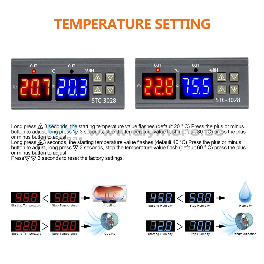 Dc24V 10A Digital Dual Led Temperature & Humidity Controller Stc-3028 Thermostat