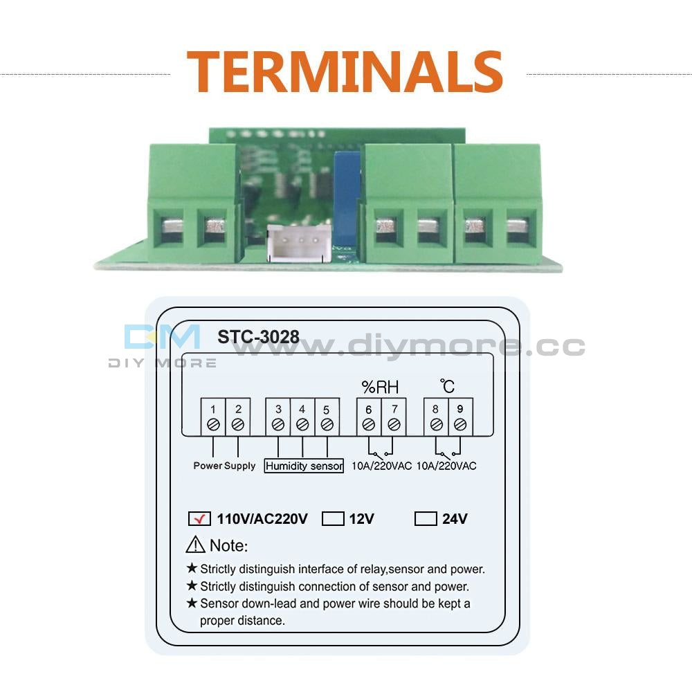 Ac110-220V 10A Stc-3028 Dual Led Temperature Humidity Control Thermostat+Probe Sensor Module
