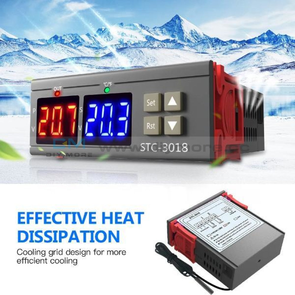Stc-3018 12V 24V 110-220V Digital Temperature Controller Thermostat Heating Cooling Switch