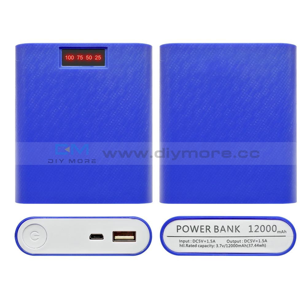 4X18650 Usb Mobile Power Battery Charger Storage Case Diy Box Holder Bank 18650 For Phone Blue A