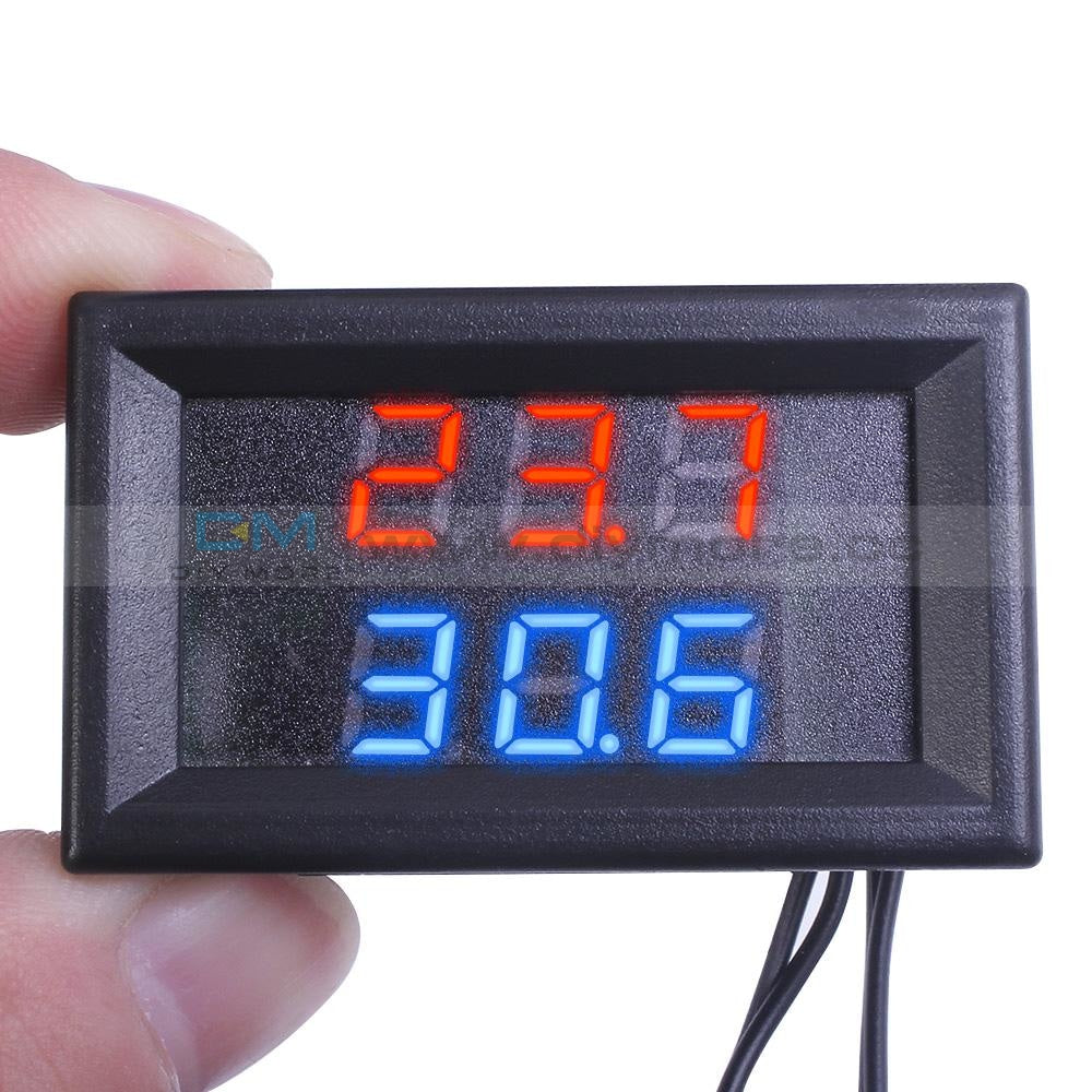 Dc4-28V Red+Blue Dual Display Thermometer W / Ntc Metal Probe Temperature Sensor Thermostat