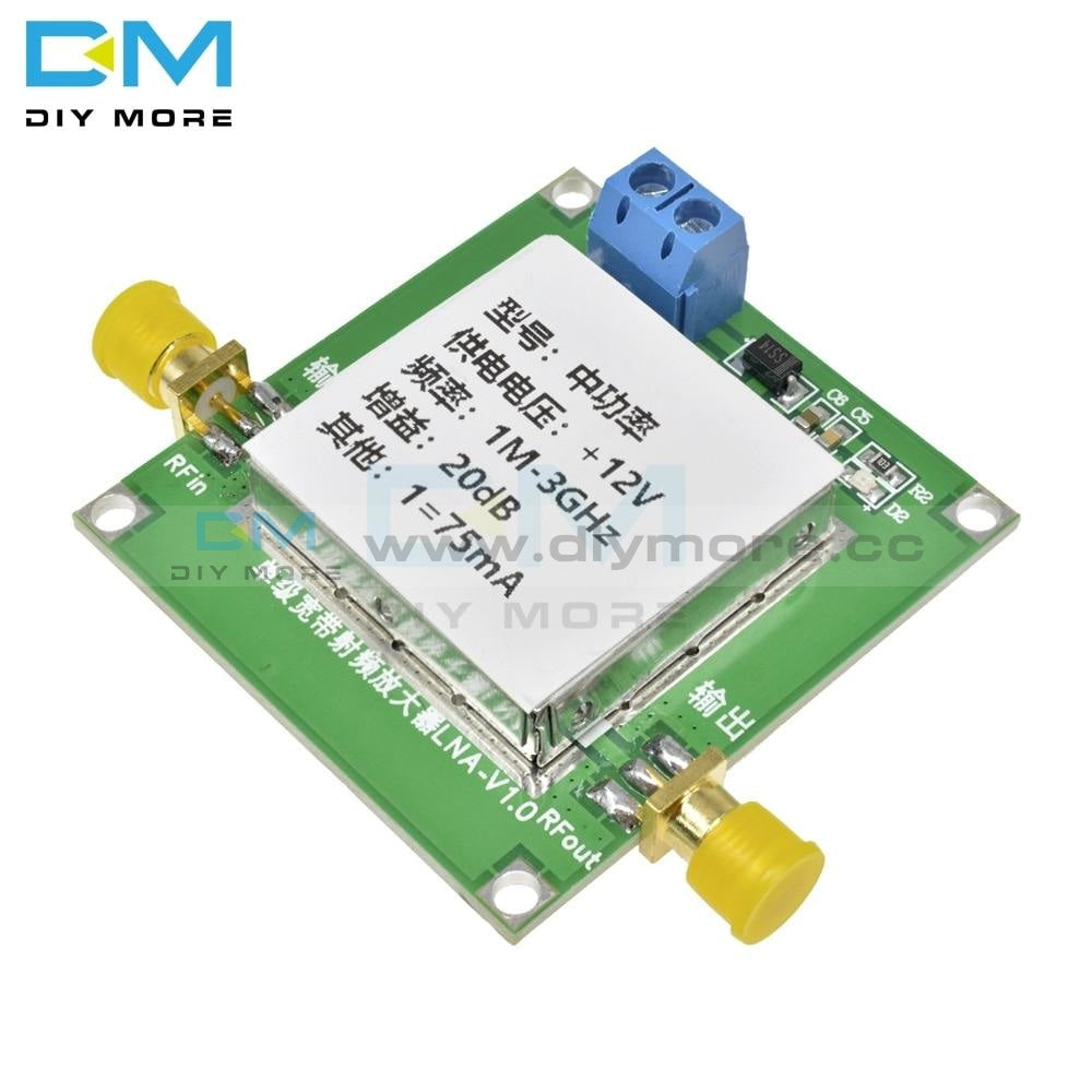 1-3000Mhz 2.4Ghz High Gain 20Db Lna Rf Broadband Low Noise Amplifier Moduledc 12V 75Ma Uhf Hf Vhf