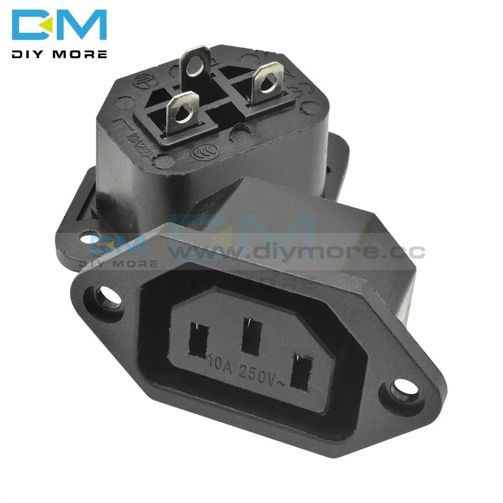 10Pcs Ac Power Socket 250V 10A Iec320 C14 Ac-04 Panel Mount Plug Adapter 3Pin Insulator Wrapped