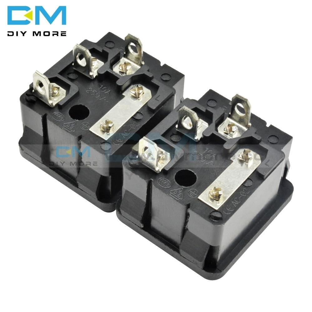 5Pcs Lot Ac-02 Ac/250V 10A 3 Pin Iec320 C14 Inlet Connector Plug Power Socket Snap Type Ac With