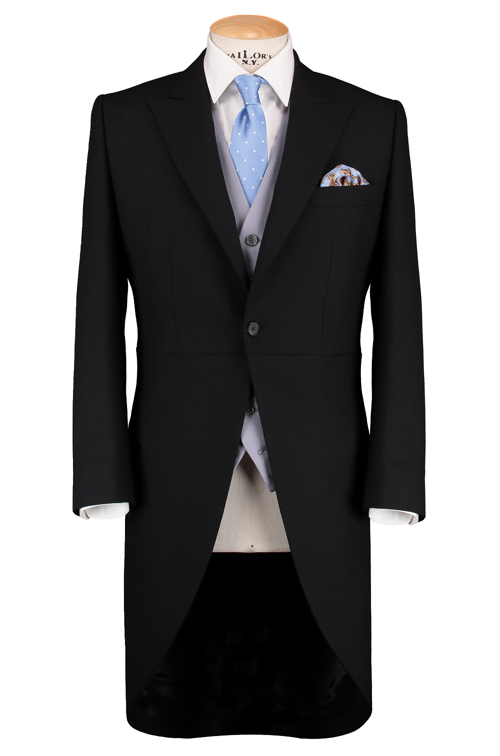 HW Black Morning Suit - Pinstripe with Single Breasted Baby Blue Waistcoat