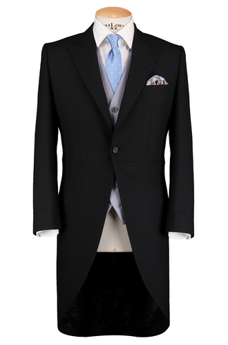 HW Black Morning Suit - Pinstripe with Double Breasted Pink Waistcoat