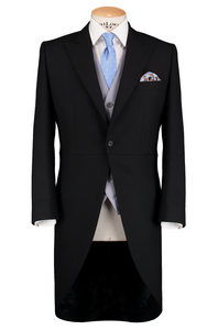 HW Black Morning Suit - Pinstripe with Double Breasted Baby Blue Waistcoat