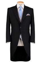 Load image into Gallery viewer, RTW Black Morning Suit - Pinstripe with Double Breasted Baby Blue Waistcoat